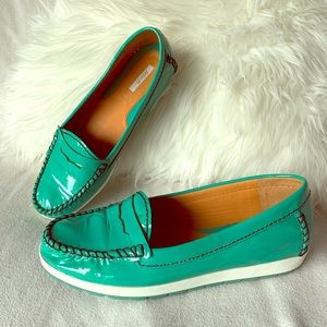 Geox Green Patent Leather Moc Penny Loafers